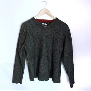 North Face Gray Wool V Neck Sweater